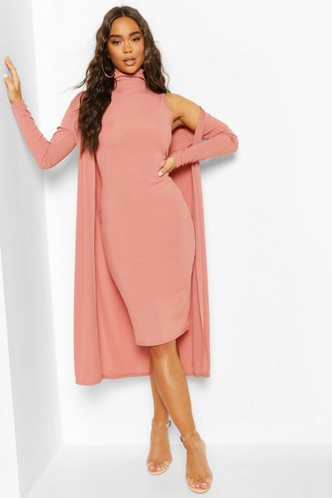 Rose pink Rib Funnel Neck Midi Dress And Duster