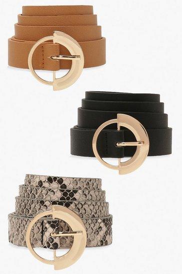 Multi 3 Pack Ring Detail Buckle Belt