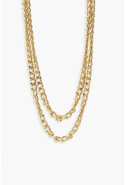 Gold metallic Layered Chain Necklace