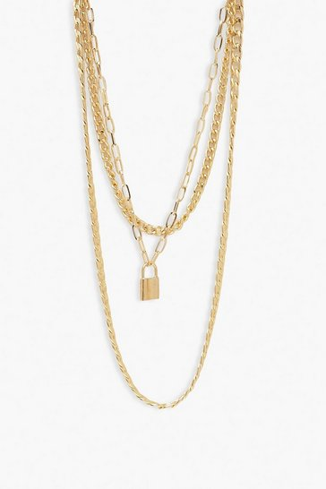 Gold metallic Chain & Lock Layered Necklace