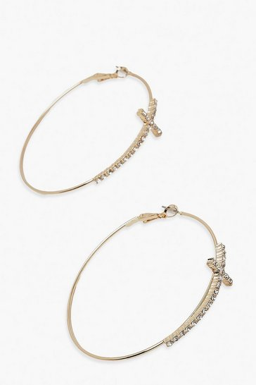 Gold metallic Diamante Cross Detail Hoop Earring