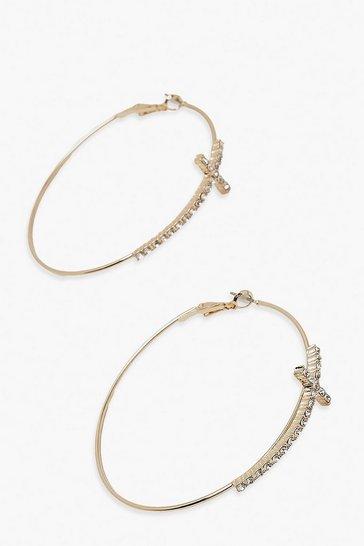 Gold metallic Diamante Cross Detail Hoop Earring