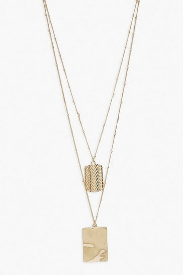 Gold Double Dog Tag Layered Necklace