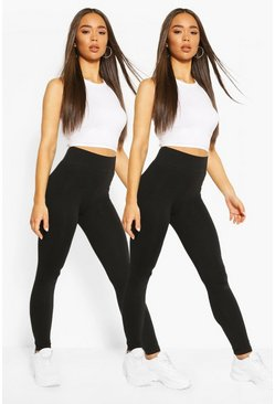 Black 2 Pack Core Basic Highwaist Jersey Leggings