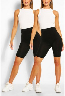 Black 2 Pack Basic Jersey Biker Shorts