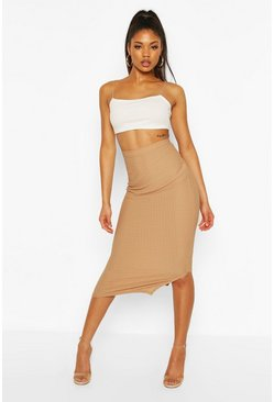Camel beige Highwaist Textured Tonal Midaxi Skirt