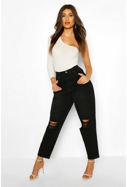 Mid blue High Rise Balloon Distressed Fit Jean