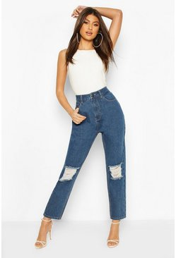 Mid blue blue High Waist Distressed Boyfriend Jean