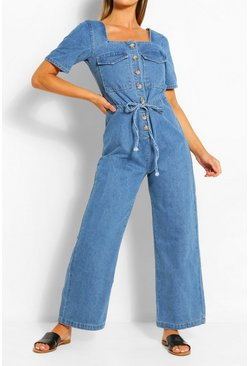 Mid blue blue Mock Horn Tie Waist Denim Jumpsuit