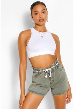 Washed khaki khaki Paperbag Rope Belt Denim Short