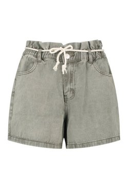 Washed khaki Paperbag Rope Belt Denim Short