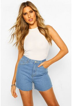 Light blue blue High Waist Dad Short