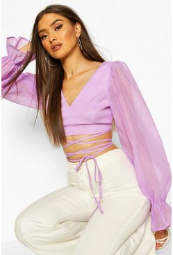 Lilac purple Organza Balloon Sleeve Tie Up Waist Top