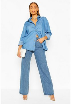 Mid blue blue Oversized Chambray Shirt