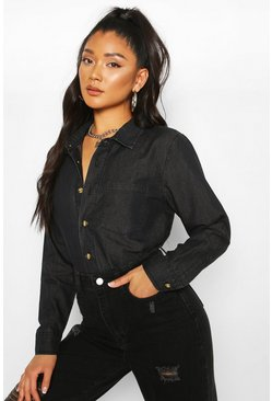 Black Slim Fit Pocket Chambray Shirt