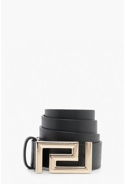 Black Geo Detail Buckle Belt