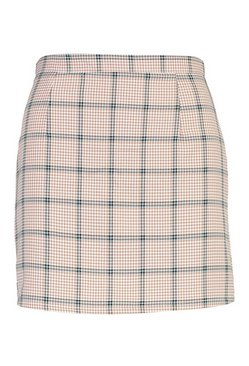 Camel Checked A Line Mini Skirt