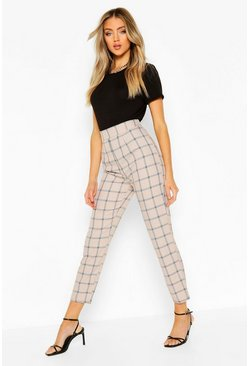 Camel beige Tonal Check Slim Fit Trousers