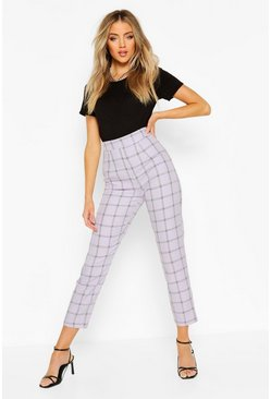 Lilac Tonal Check Slim Fit Trousers