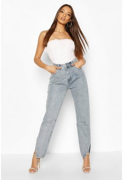 Light blue High Waist Split Hem Mom Jean