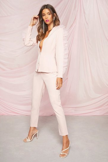 Blush pink Occasion Tailored Tapered Trousers