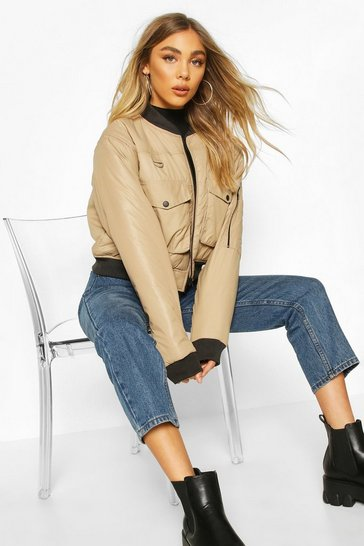 Stone beige Pocket Front Buckle Detail Bomber Jacket