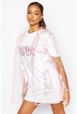 Neon-pink pink Neon Trim Transparent Rain Mac