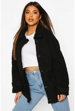 Black Pocket Detail Teddy Faux Fur Trucker Jacket