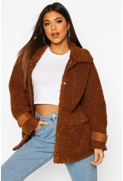 Camel beige Pocket Detail Teddy Faux Fur Trucker Jacket
