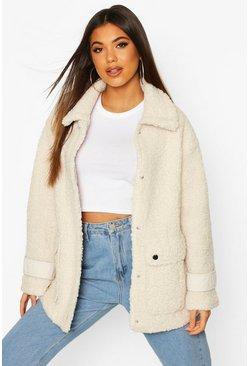 Cream white Pocket Detail Teddy Faux Fur Trucker Jacket