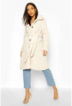 Cream white Longline Teddy Belted Coat