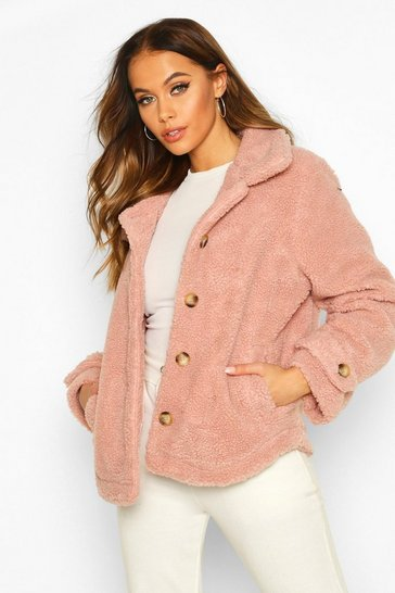 Rose Teddy Faux Fur Curved Hem Coat
