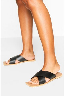 Tan Leather Cross Strap Square Toe Sliders