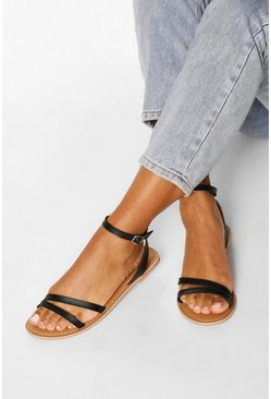 Black Leather 2 Part Sandals