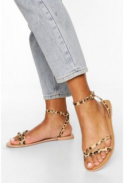 Leopard Leather 2 Part Sandals