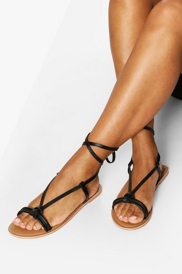 Black Leather Knot Detail Wrap Strap Sandals