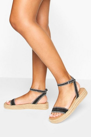 Black Contrast Stitch Leather Espadrille Flatforms