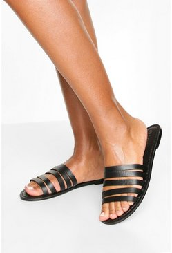 Black Leather Multi Strap Sandals