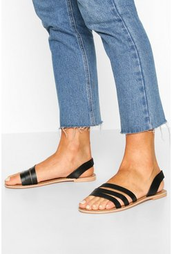 Black Leather 3 Strap Sandals
