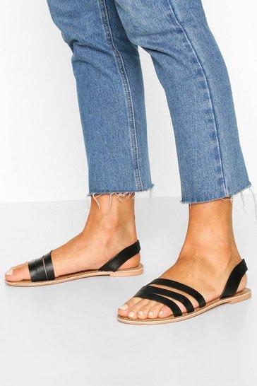 Black Leather 3 Strap Sandals
