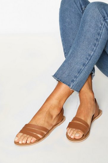 Tan brown Leather 3 Strap Sandals