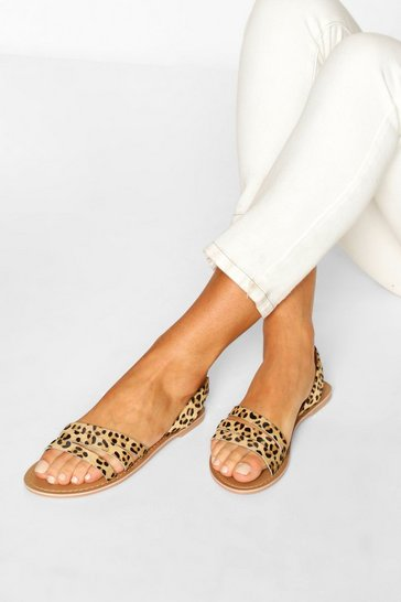 Leopard Leather 3 Strap Sandals