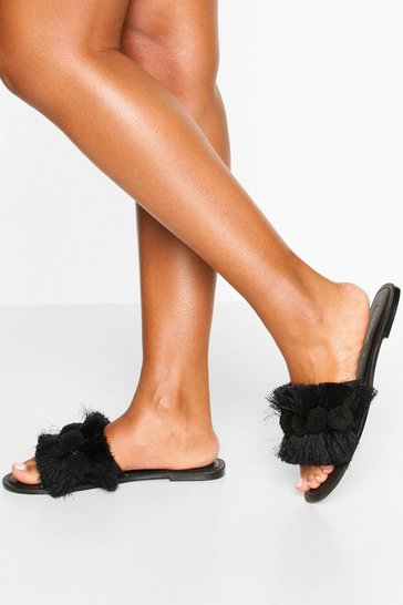 Black Pom Pom Fringe Detail Sliders