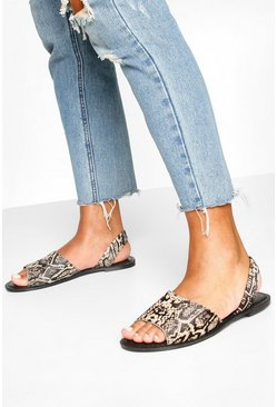 Black Leather Animal Print Sandals