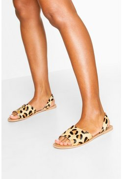 Tan brown Leather Leopard Print Sandals
