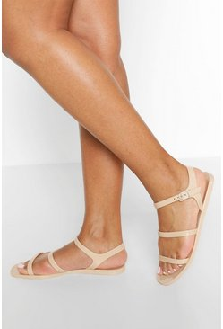 Nude 3 Strap Jelly Sandals