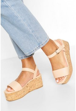 Nude Square Toe 2 Part Flatforms