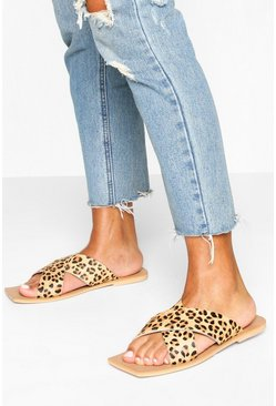 Leopard Wide Fit Leather Cross Strap Square Toe Sliders