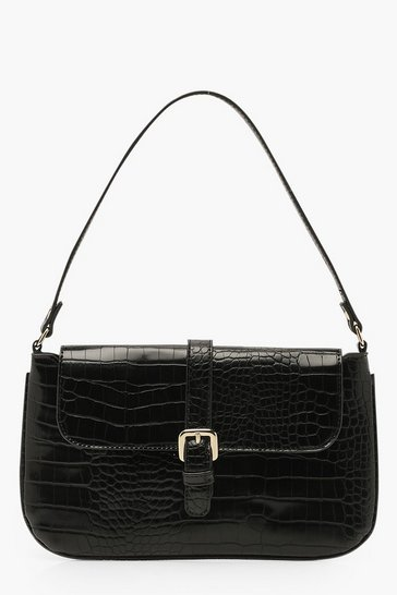 Black Croc Buckle Detail Underarm Bag