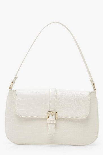 White Croc Buckle Detail Underarm Bag